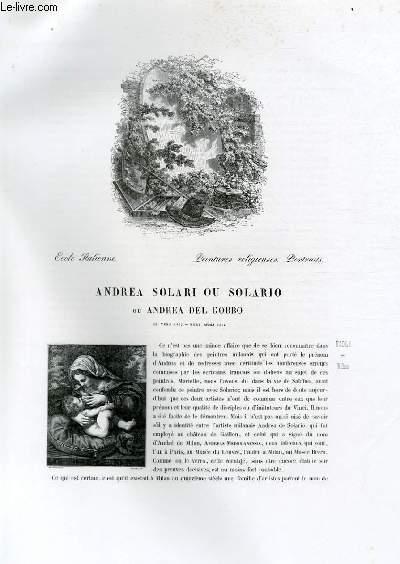 Biographie d'Andrea Solari ou Solario ou Andrea del Gobbo (né vers 1475, mort après 1512) ; Ecole Italienne ; Peintures religieuses, Portraits ; Extrait du Tome 5 de l'Histoire des peintres de toutes les écoles.