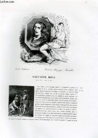 Biographie de Salvator Rosa (1615-1633) ; Ecole Italienne ; Histoire, Paysages, Batailles ; Extrait du Tome 5 de l'Histoire des peintres de toutes les écoles.