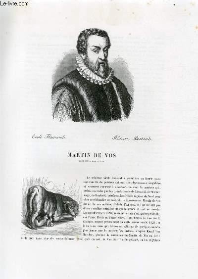 Biographie de Martin de Vos (1531-1603) ; Ecole Flamande ; Histoire, Portraits ; Extrait du Tome 7 de l'Histoire des peintres de toutes les écoles.