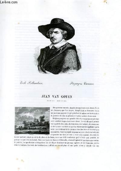 Biographie de Jean Van Goyen (1596-1656) ; Ecole Hollandaise ; Paysages, Canaux ; Extrait du Tome 9 de l'Histoire des peintres de toutes les écoles.