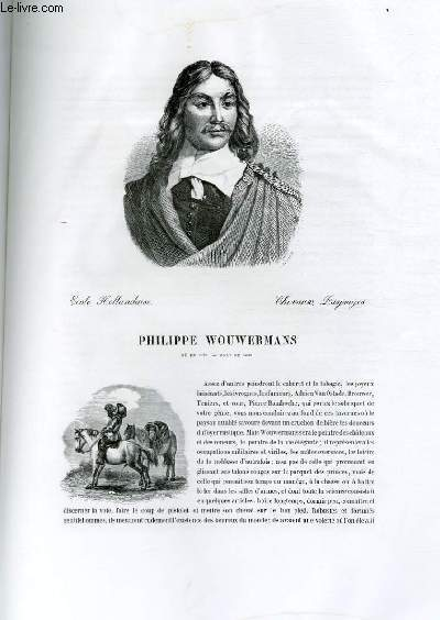 Biographie de Philippe Wouwermans (1620-1668) ; Ecole Hollandaise ; Chevaux, Paysages ; Extrait du Tome 9 de l'Histoire des peintres de toutes les écoles.