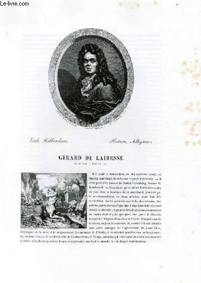 Biographie de Gérard de Lairesse (1640-1711) ; Ecole Hollandaise ; Histoire, Allégories ; Extrait du Tome 10 de l'Histoire des peintres de toutes les écoles.