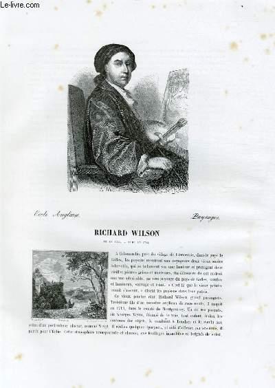 Biographie de Richard Wilson (1713-1782) ; Ecole Anglaise ; Paysages ; Extrait du Tome 14 de l'Histoire des peintres de toutes les écoles.