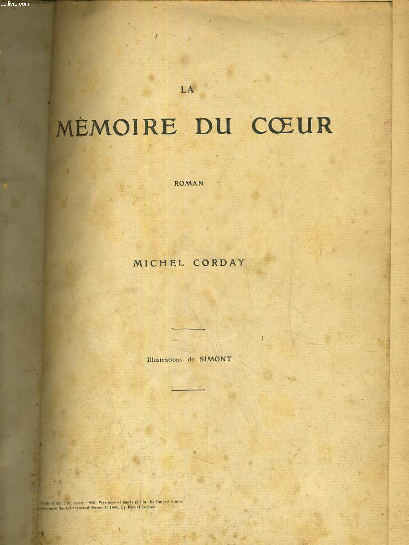 La mémoire du coeur. Illustrations de Simont