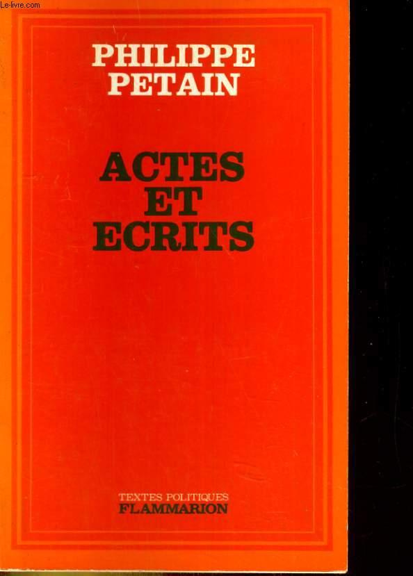 Actes et écrits