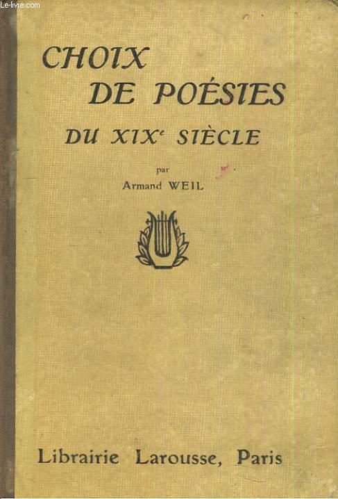 Choix de poésies du XIXe siècle