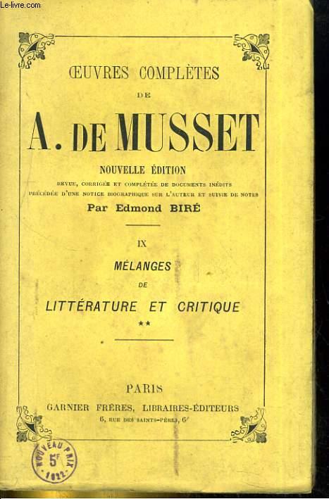 Oeuvres complètes de Alfred de Musset - IX : Mélange de littérature et de critique (suite)