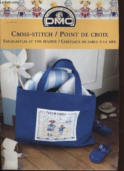 CROSS-STITCH / POINT DE CROIX ; sandcasteles at the seaside / châteaux de sable à la mer