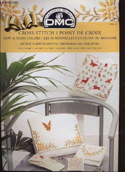 CROSS-STITCH / POINT DE CROIX NEW 36 FLOSS COLORS / LES 36 COULEURS DU MOLINE animal sampler motifs / broderies naturalistes