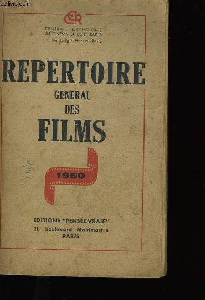REPERTOIRE GENERAL DES FILMS.