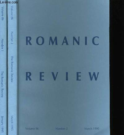 ROMANIC REVIEW N°1  ET 2 , VOLUME 86.