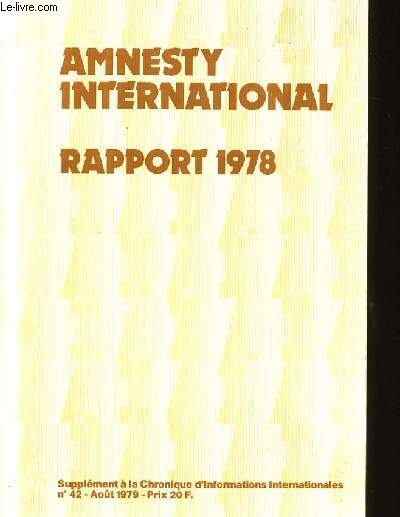 AMNESTY INTERNATIONAL. RAPPORT DE 1978