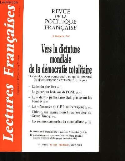 REVUE DE LA POLITIQUE FRANCAISE N°551.