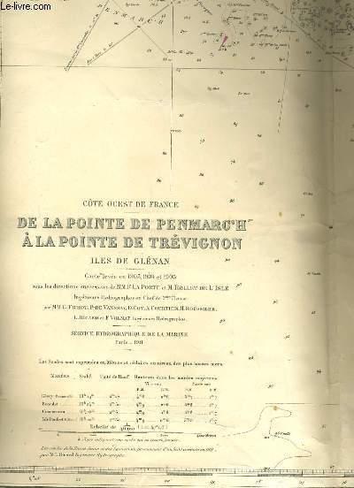 COTE OUEST DE FRANCE. DE LA POINTE DE PENMARC' HA LA POINTE DE TREVIGNON. ILE DE GLENAN.