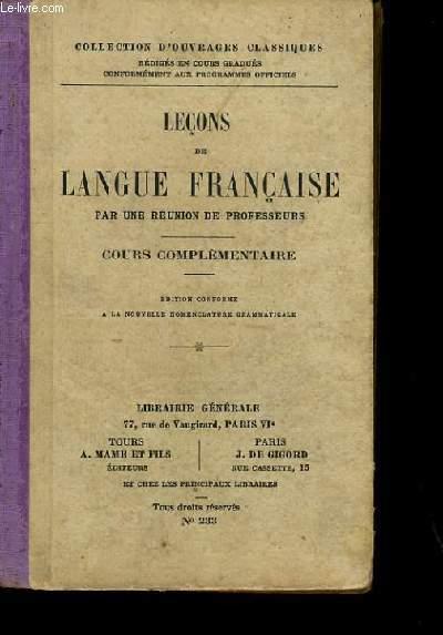 LECONS DE LANGUE FRANCAISE.