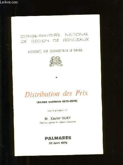 DISTRIBUTION DES PRIX.