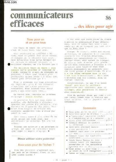 COMMUNICATEURS EFFICACES. DES IDEES POUR AGIR N°86.