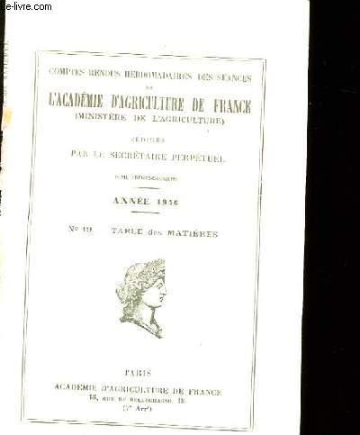 COMPTES RENDUS HEBDOMADAIRES DES SEANCES DE L'ACADEMIE D'AGRICULTURE DE FRANCE. N°19.
