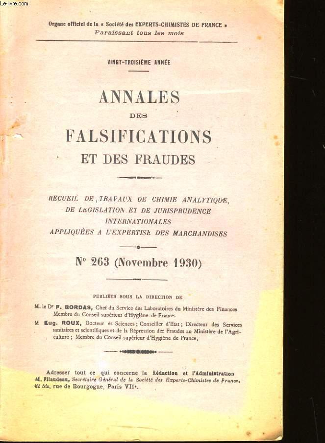 ANNALES DES FALSIFICATIONS ET DES FRAUDES.