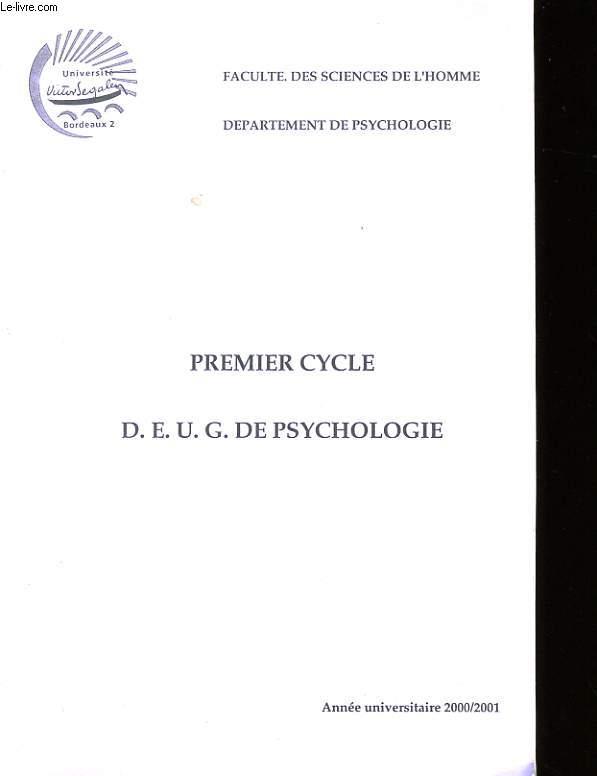PREMIER CYCLE D.E.U.G. DE PSYCHOLOGIE.