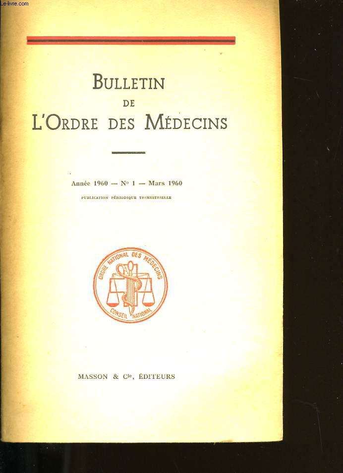 BULLETIN DE L'ORDRE DES MEDECINS N° 1.
