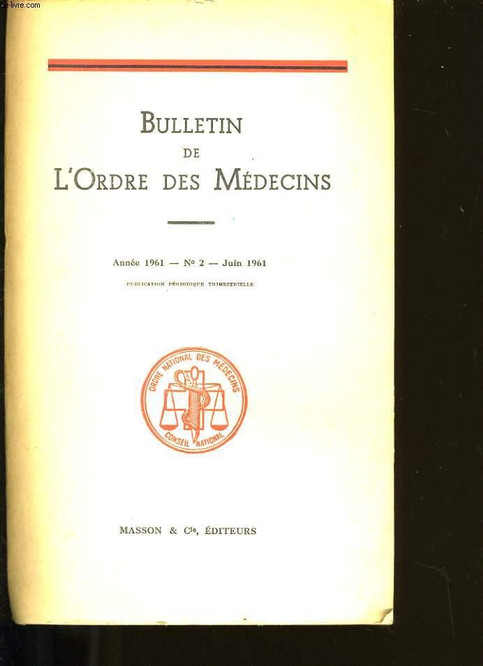 BULLETIN DE L'ORDRE DES MEDECINS N° 2.