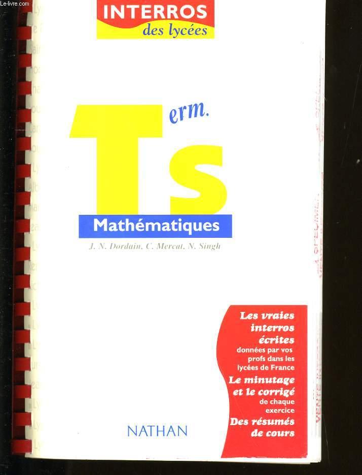 MATHEMATIQUES  TERM S.