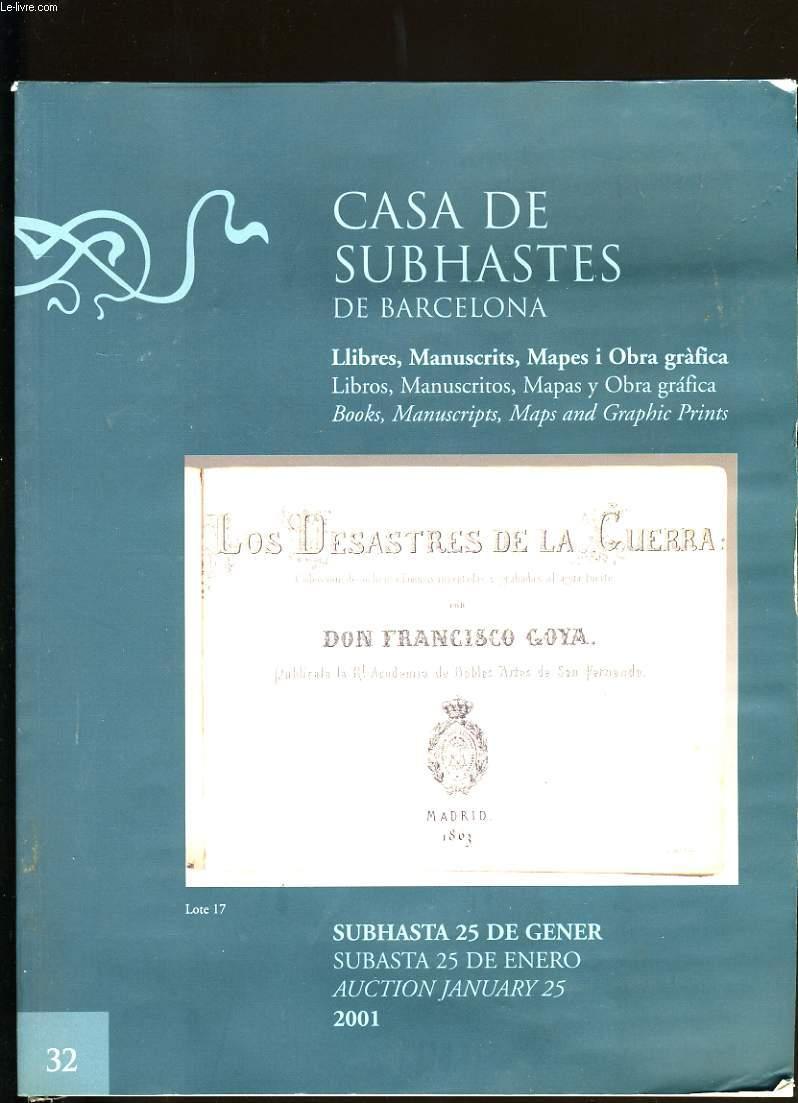 CATALOGUE DE LIVRES. CASA DE SUBHASTES DE BARCELONA.