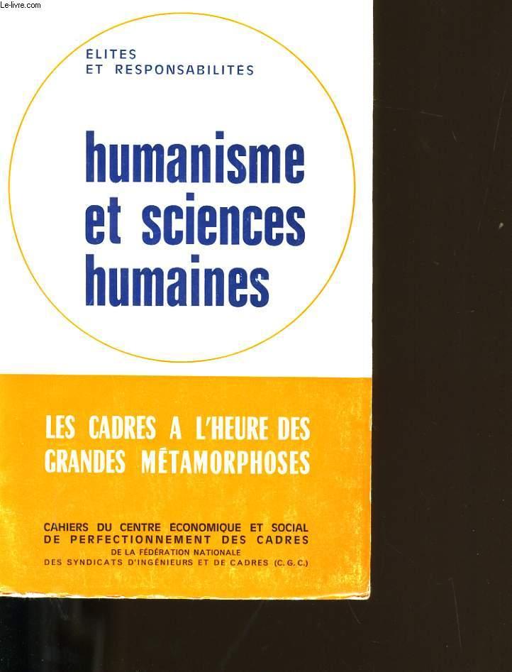 HUMANISME ET SCIENCES HUMAINES.