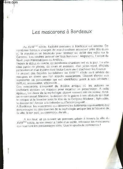 LES MASCARONS DE BORDEAUX.