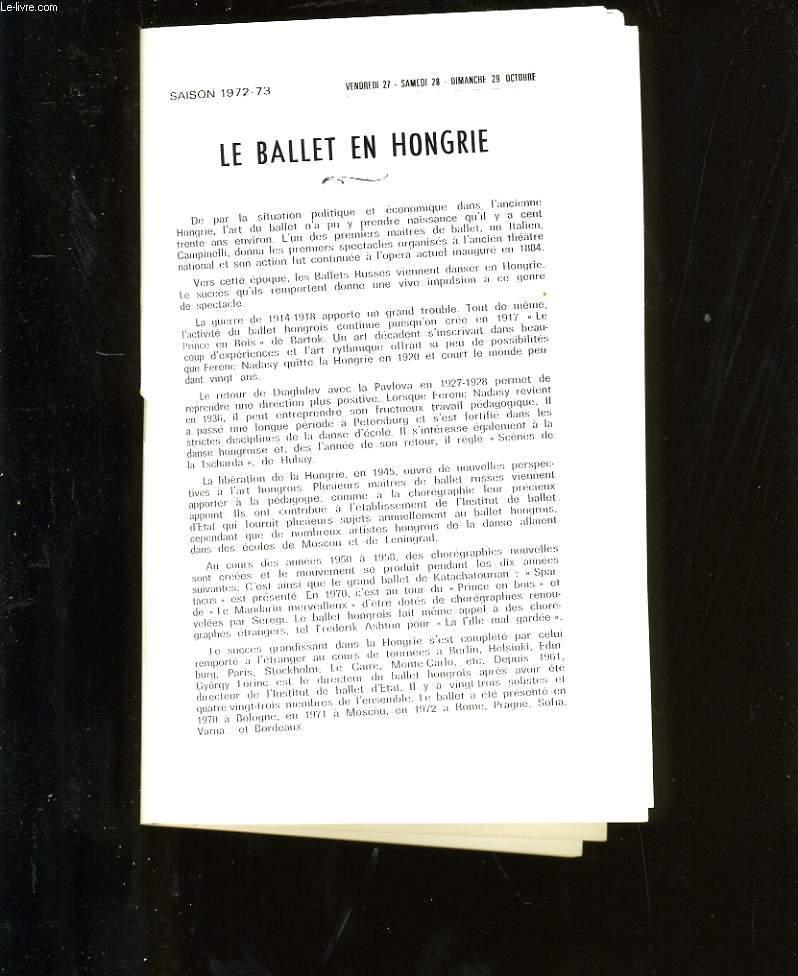 PROGRAMME OFFICIEL DU GRAND THEATRE. LE BALLET EN HONGRIE.