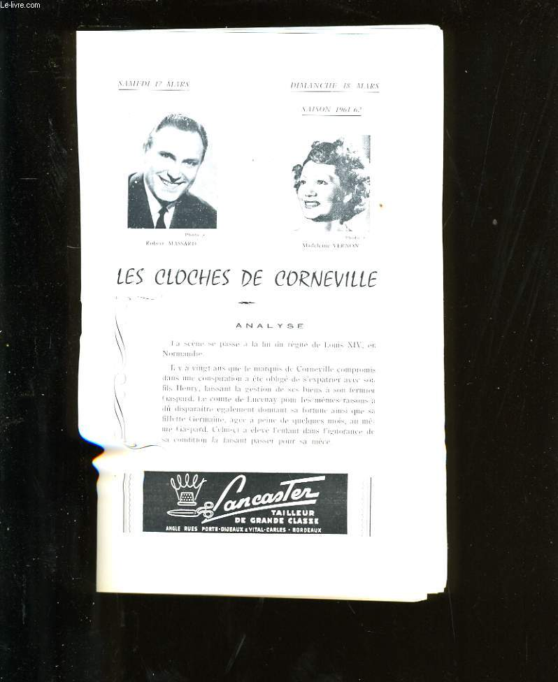 PROGRAMME OFFICIEL DU GRAND THEATRE. LES CLOCHES DE CORNEVILLE.