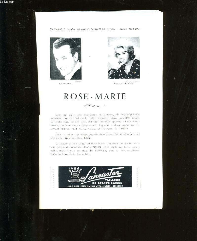 PROGRAMME OFFICIEL DU GRAND THEATRE. ROSE - MARIE.