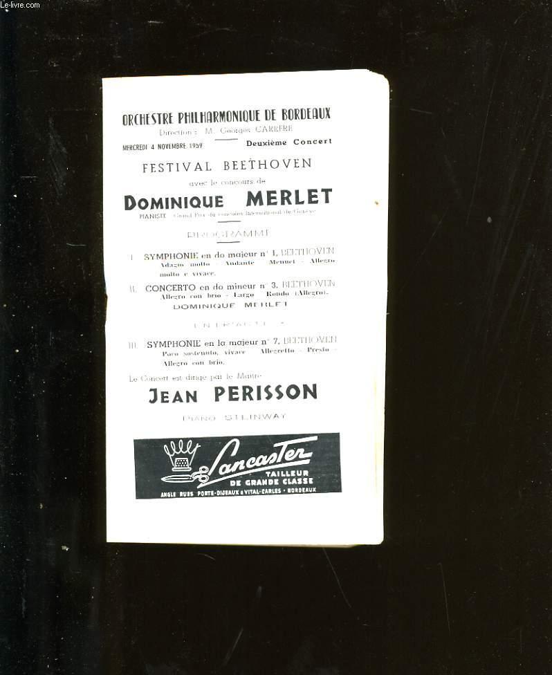 PROGRAMME OFFICIEL DU GRAND THEATRE. ORCHESTRE PHILHARMONIQUE DE BORDEAUX.