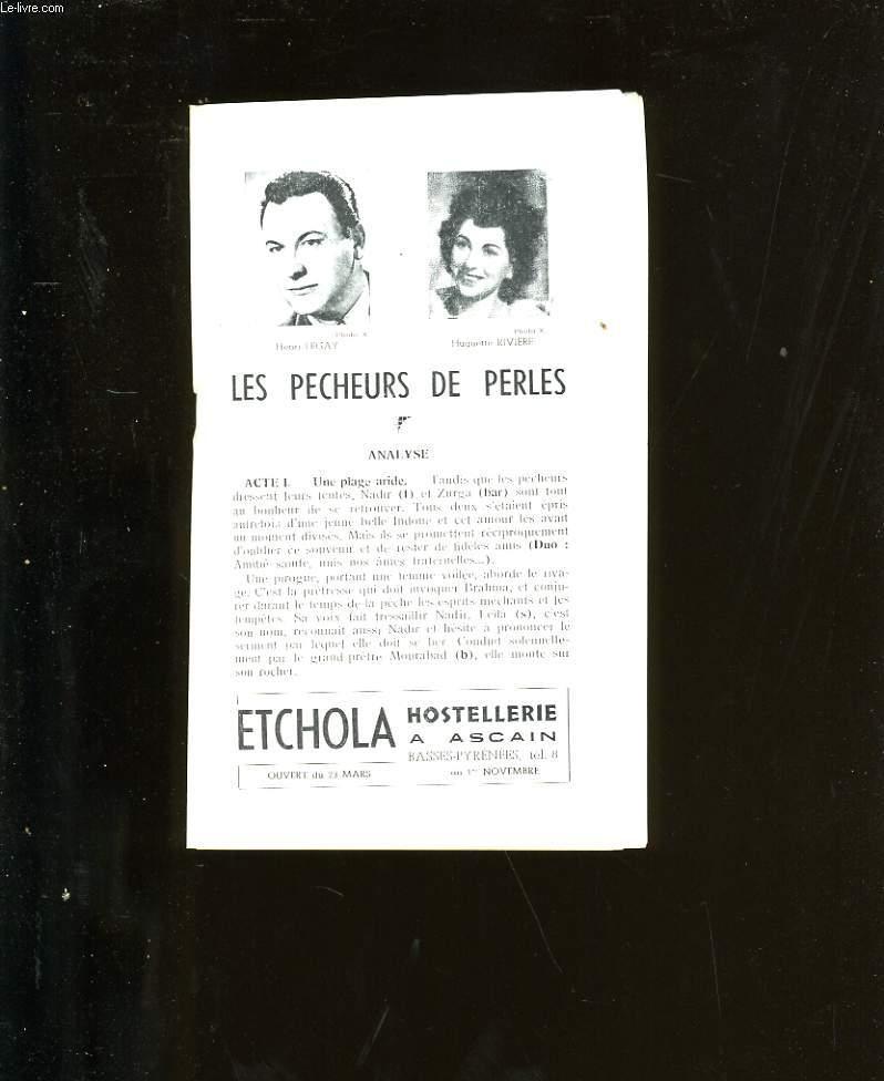 PROGRAMME OFFICIEL DU GRAND THEATRE. LES PECHEURS DE PERLES.