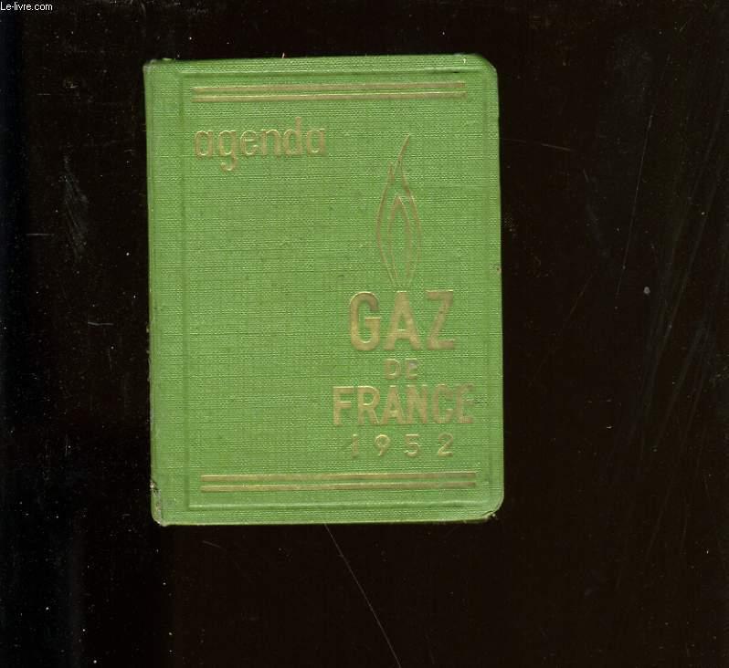 AGENDA DE GAZ DE FRANCE 1952.