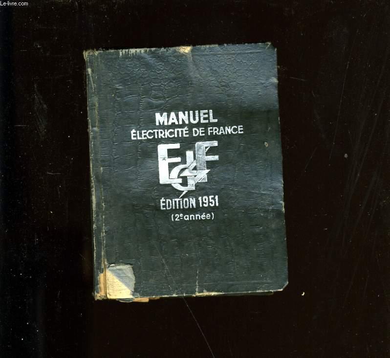 MANUEL ELECTRICITE DE FRANCE. 1951.