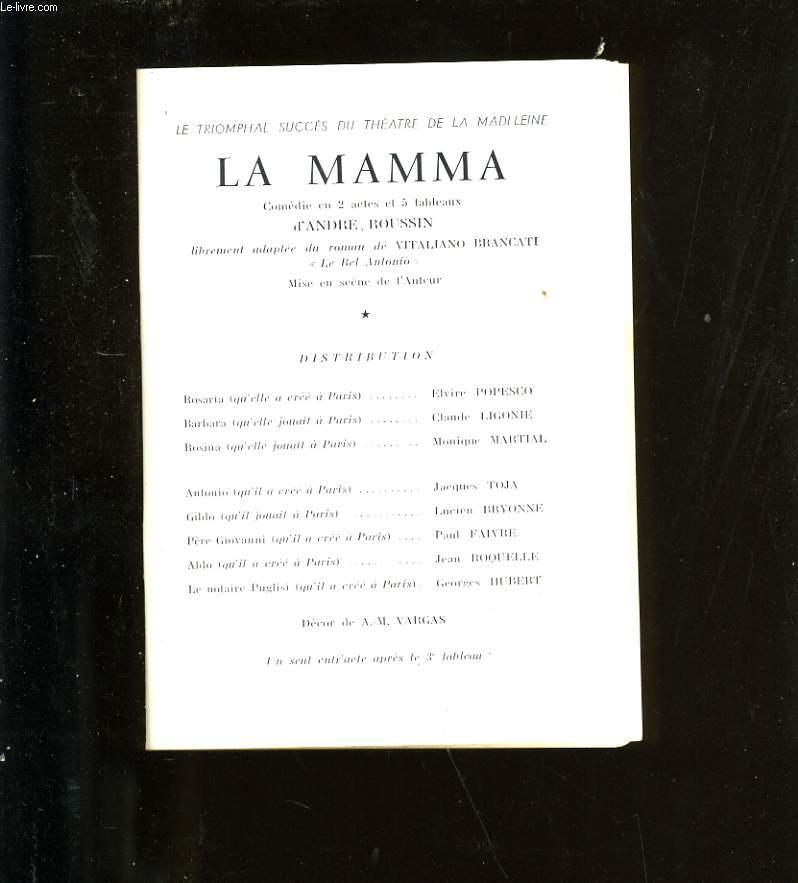 PROGRAMME DE THEATRE GALAS KARSENTY. LA MAMA.