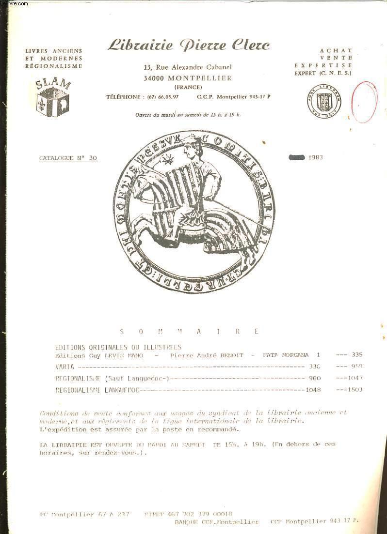 CATALOGUE DE LIVRES DE LA LIBRAIRIE PIERRE CLERC.
