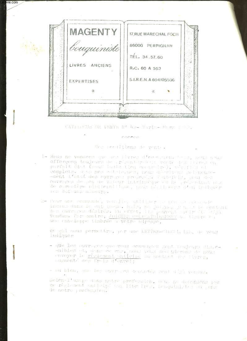CATALOGUE DE LIVRES DU BOUQUINISTE MAGENDY. CATALOGUE DE VENTE N° 42.