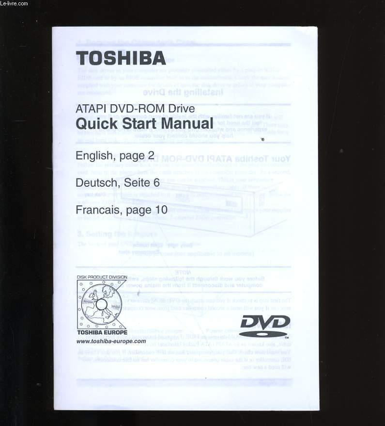 TOSHIBA. ATAPI DVD-ROM DRIVE. QUICK START MANUAL. / MODE D'EMPLOI.