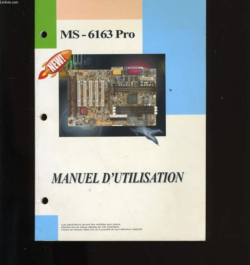 MANUEL D'UTILISATION MS-6163 PRO.