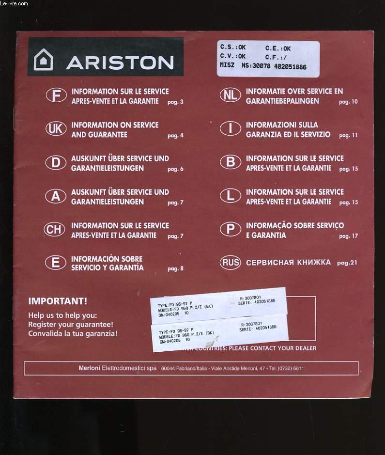 MANUEL D'UTILISATION ARISTON FD 960