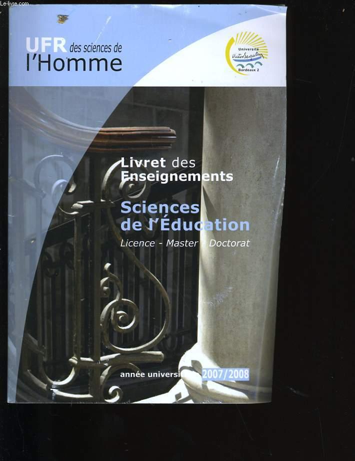 LIVRET DES ENSEIGNEMENTS. SCIENCES DE L'EDUCATION.