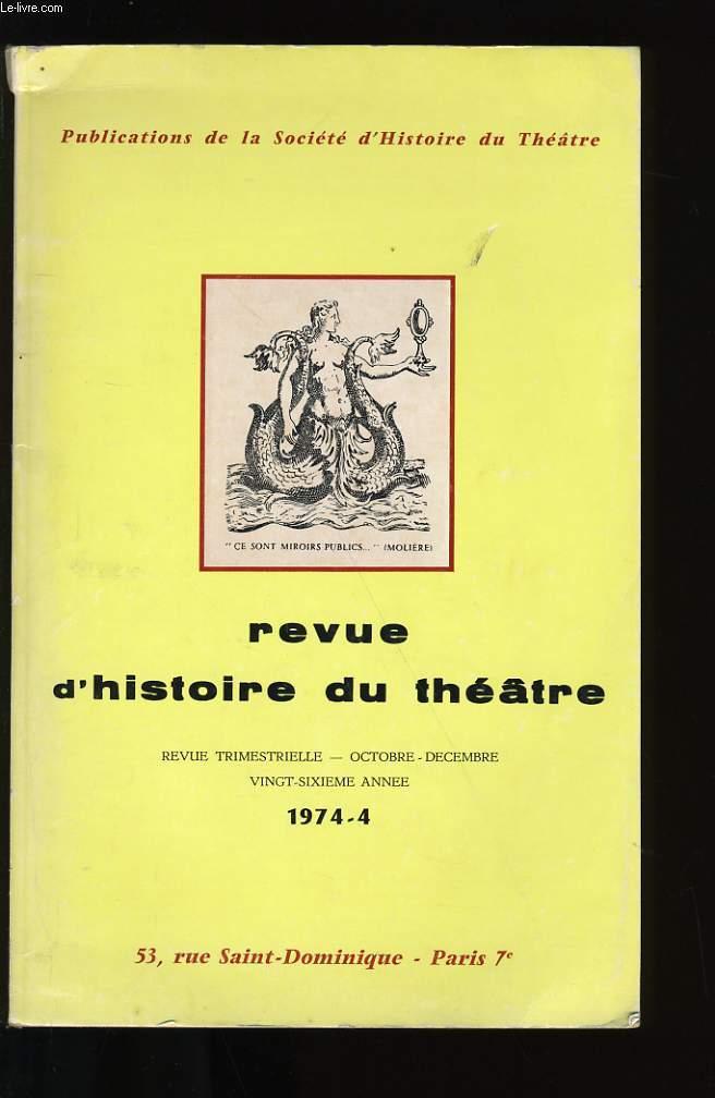 REVUE D'HISTOIRE DU THEATRE.