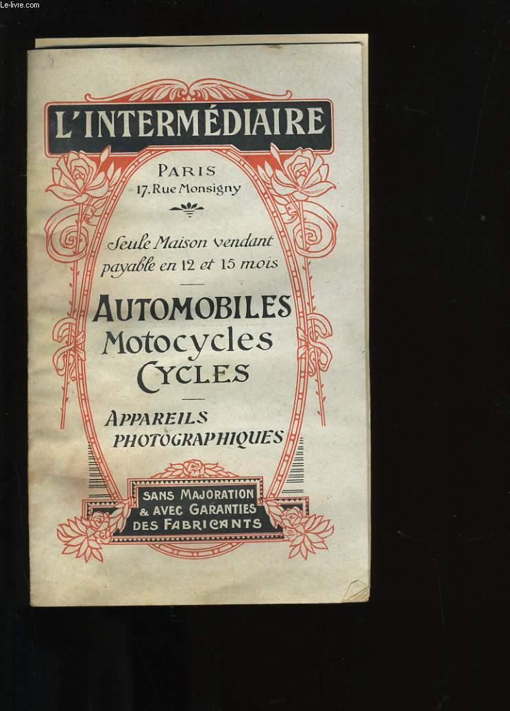 EXTRAIT DU CATALOGUE DE L'INTERMEDIAIRE.  AUTOMOBILES, DE BICYCLETTES, APPAREILS PHOTOGRAPHIQUES,  MOTOCYCLETTES.