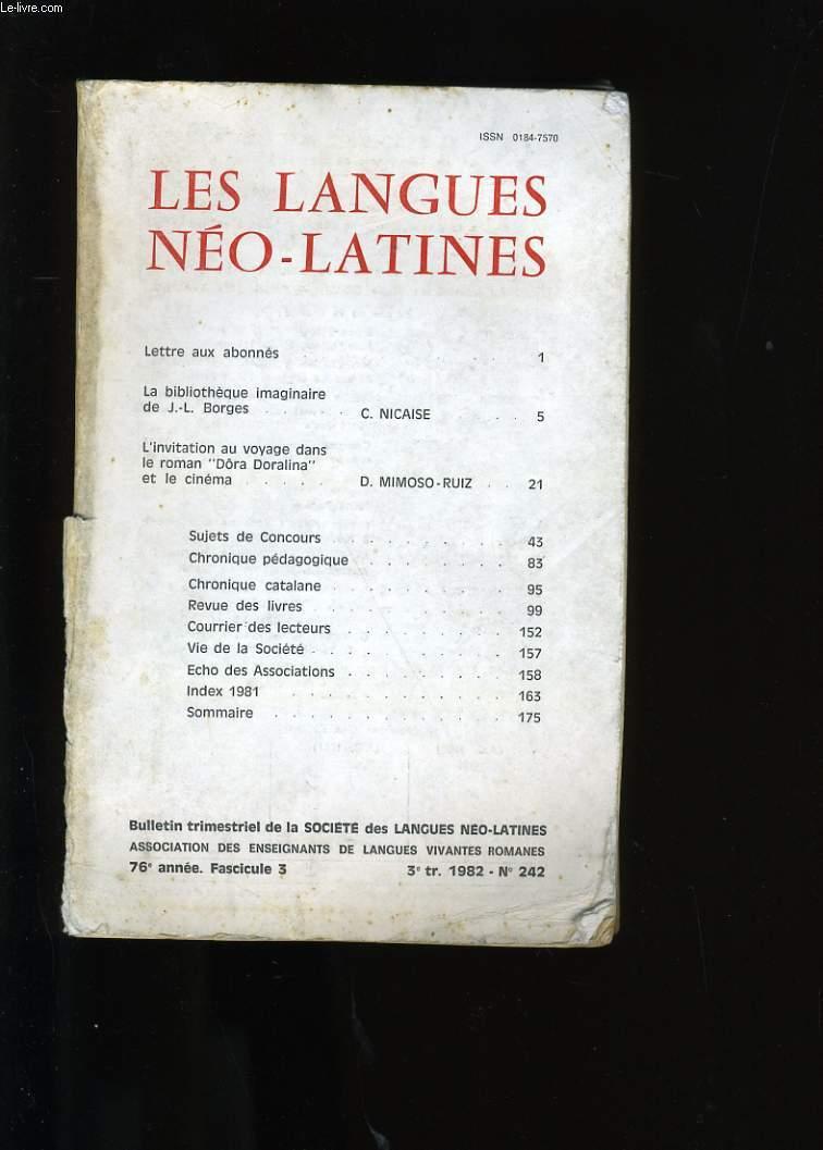 LES LANGUES  NEO-LATINES III.  N°242.