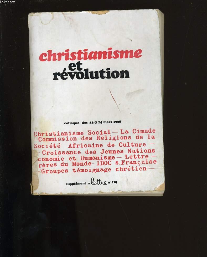 CHRISTIANISME ET REVOLUTION.