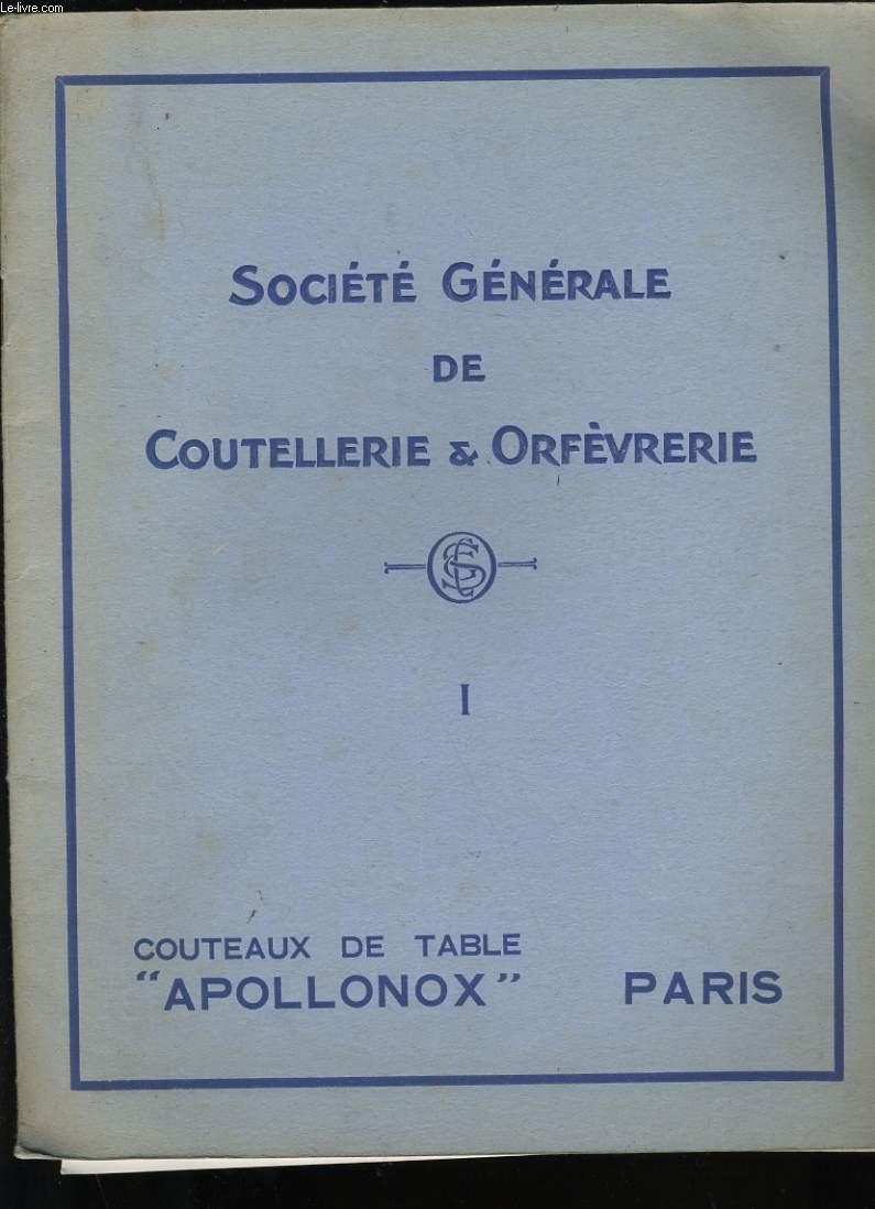 CATALOGUE DE COUTEAUX ET ORFEVRES N°1. APOLLONOX.