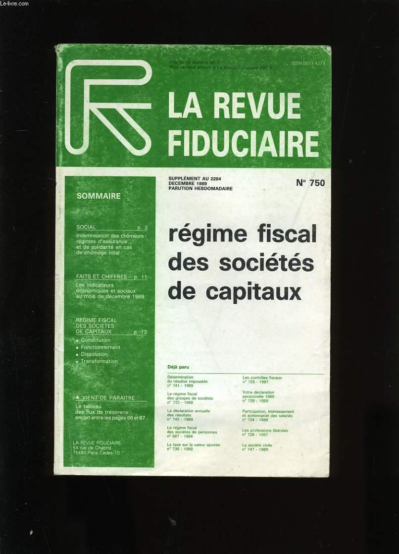 LA REVUE FIDUCIAIRE N° 750.